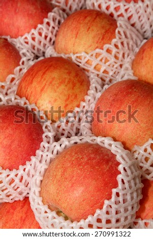 Pile of apples for sale at market - stock photo