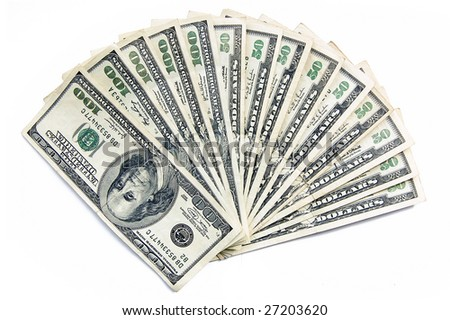 Pile of banknotes of fifty and hundred dollars isolated on white - stock photo