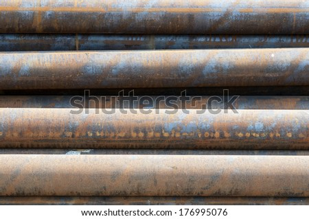 Pile of big pipes - stock photo