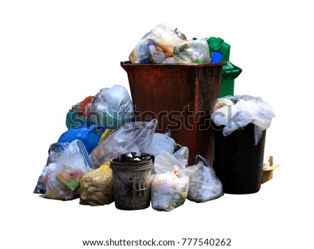 pile of bin trash junk dirty and garbage bag many isolated on white background