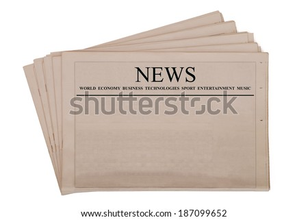 Pile of blank newspapers with black headline, isolated on white background - stock photo