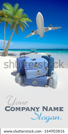 Pile of blue luggage on a tropical beach and a flying plane  - stock photo
