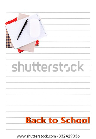 Pile of books and computer mouse on lined paper background - stock photo