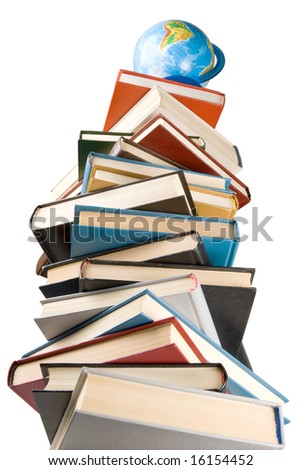 """Pile of books and globe isolated on a white background.  Concept for """"Back to school"""" - stock photo"""