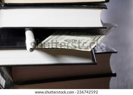 pile of books and money - stock photo