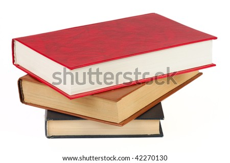 Pile of books. Isolated on a white. - stock photo