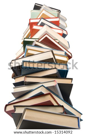 "Pile of books isolated on a white background.  Concept for ""Back to school"""