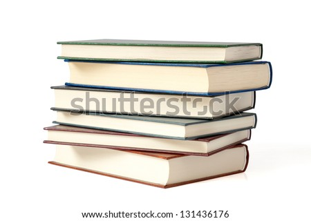 Pile of books isolated on white background. Clipping path - stock photo