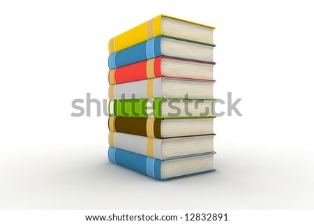 pile of books - isolated on white background - photorealistic 3d render