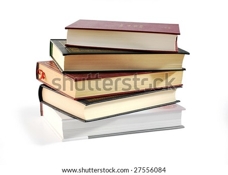 Pile of books isolated over white with clipping path. - stock photo