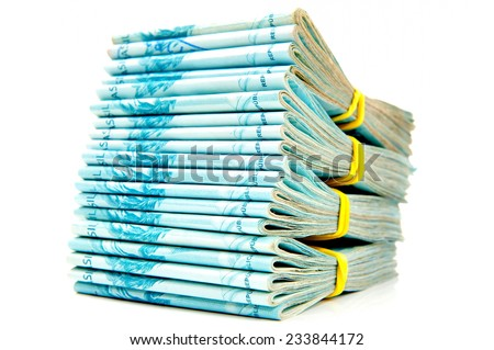 Pile of Brazilian 100 currency . - stock photo