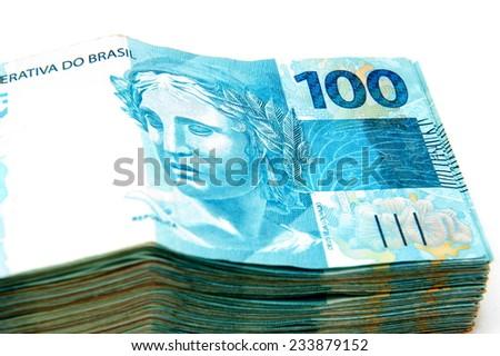 Pile of Brazilian 100 currency . - stock photo