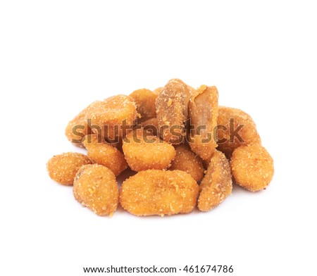 Pile of breaded peanuts isolated over the white background