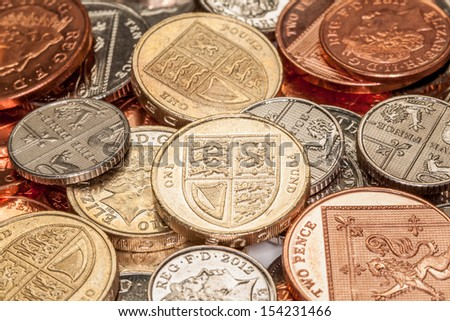 Pile of British Coins - stock photo