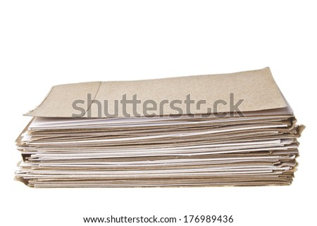 pile of brown and white note paper on white background