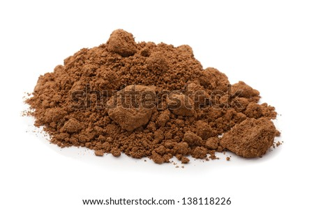 Pile of brown raw clay isolated on white - stock photo