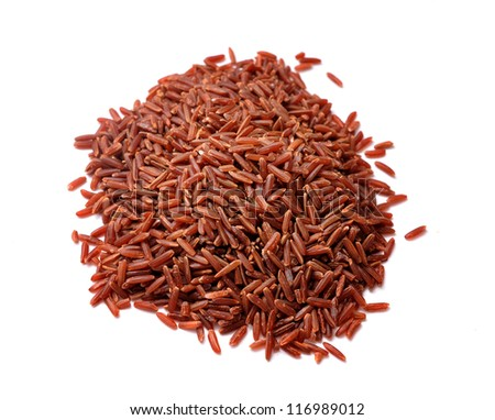 Pile of Brown Rice on White Background - stock photo
