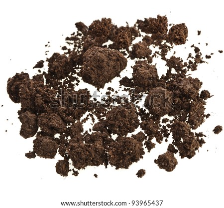 Pile of brown soil isolated on white background - stock photo