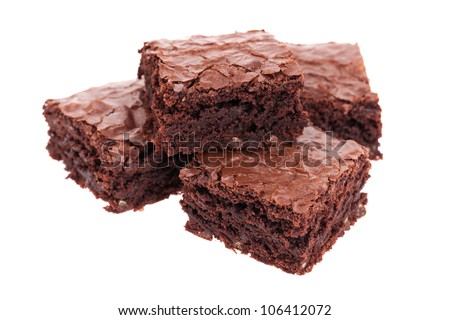 Pile of brownies isolated on white - stock photo