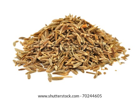 Pile of Caraway Seeds Isolated on White Background - stock photo