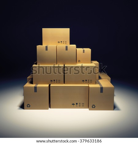 pile of cardboard box and empty billboard - stock photo