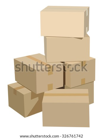 Pile of cardboard boxes on a white background - stock photo