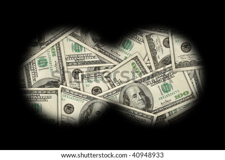 pile of cash, 100 dollar bills, seen through binoculars. - stock photo