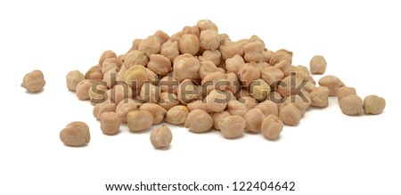 Pile of chickpea isolated on white background - stock photo
