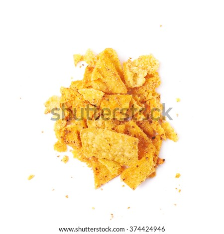 Pile of chips crumbles isolated - stock photo
