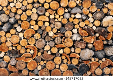 Pile of chopped fire wood prepared for winter - stock photo