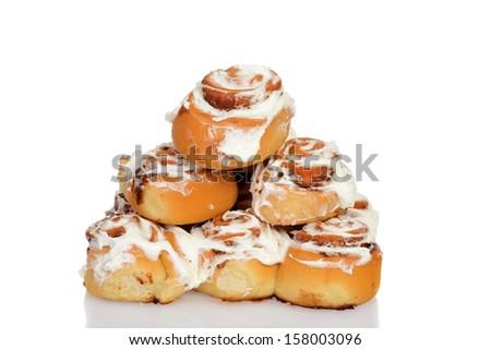 pile of cinnamon buns - stock photo