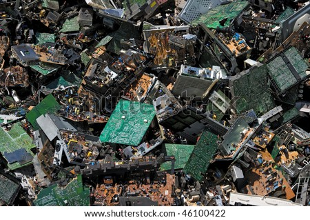 Pile of circuit board for recycling - stock photo