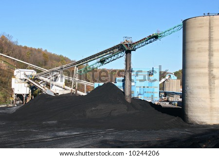 Pile of coal at a mine. - stock photo