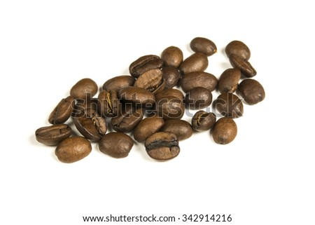 Pile of coffee beans, isolated on white background
