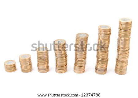 Pile of coins growing on white background .