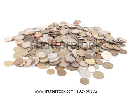 Pile of coins - isolated on white background - stock photo