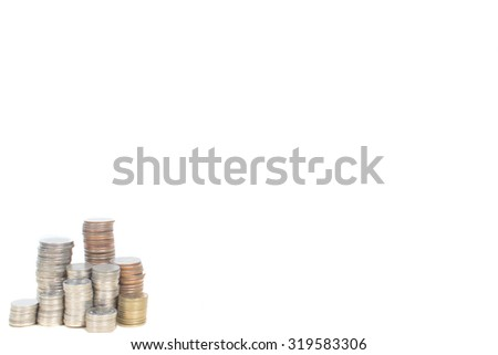 pile of coins on white background