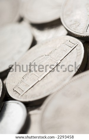 pile of coins (shallow DOF; focus on five cents - Monticello Mansion)