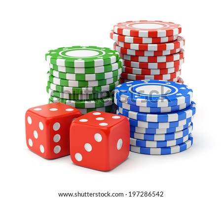 Pile of color green, red and blue gambling chips and two dices isolated on white background. Casino games, luck and winning concept. - stock photo