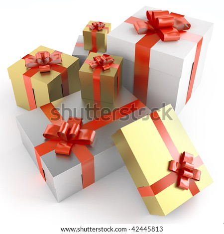 Pile of colored gifts with red ribbons isolated on white and with clipping path - stock photo