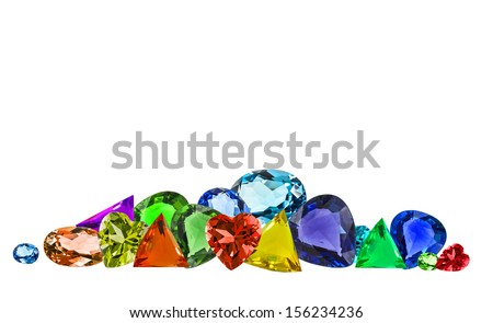 pile of colorful gems isolate on white background - stock photo