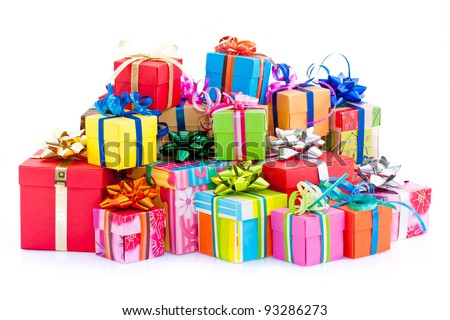 Pile of colorful gifts box  on white studio background - stock photo