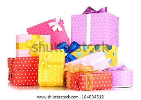 Pile of colorful gifts boxes isolated on white - stock photo