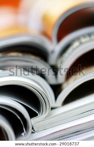 pile of colorful newspapers - relaxing time - stock photo