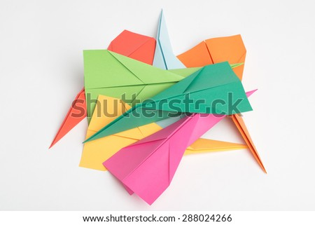 Pile of Colorful Paper Jets - stock photo