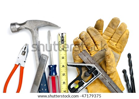 Pile of Construction Tools. Focus evenly across all objects - stock photo