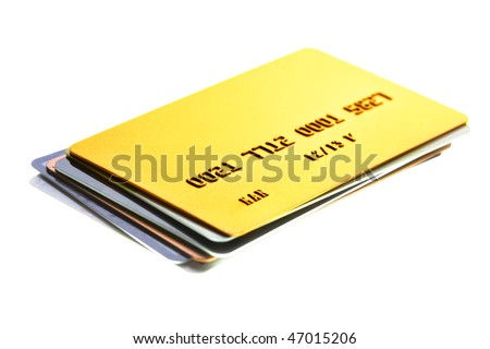 Pile of credit cards close-up. Shalow DOF! - stock photo