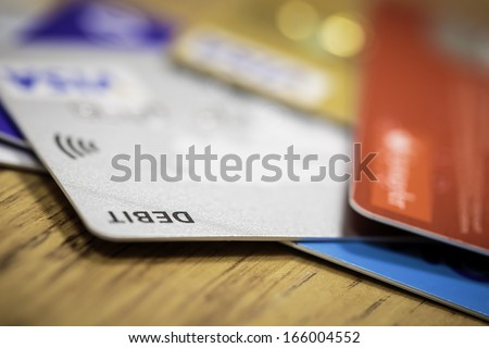 Pile of credit cards debt, loan or purchase concept - stock photo