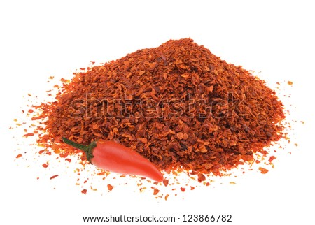 Pile of crushed chilli pepper isolated on white background