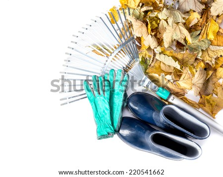 Pile of dead fall leaves, fan rake, pair of gumboots, and pair of gardening gloves all shot on white - stock photo